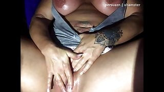 Thicc girl with juicy tits, fucks and gapes pussy (sound)