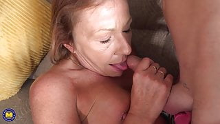 Mature sucks and fucks young cock