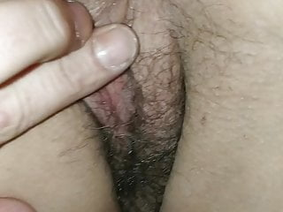 Handjob with pussy Foot and handjob with wet pussy