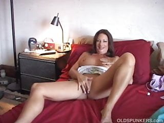 Sexy older mature videos Sexy older babe has a wank while some guy cums on her tits
