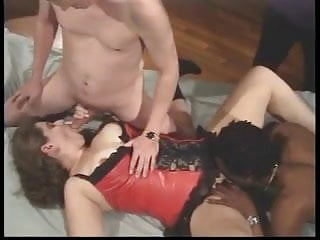 Milf tramps Brunette tramp sucks two cocks while black dude eats her wide-open pussy