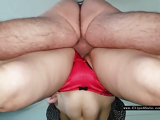 B4 busty Kutwijf red satin panty 3 creampies b4 lunch.