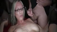 Gangbang Archive, Hot blonde MILF bukakke party