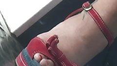 Candid arabian MILF in sexy wedges high heels