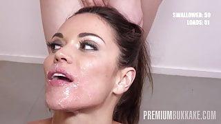 Premium Bukkake - Alyssa Reece swallows 62 mouthful cumshots