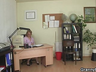 Old women for young cock Sexy old women rides his cock in the office