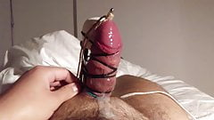 My huge cock cums with Hitachi and an urethral sound inside