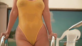See-through when wet swimsuit
