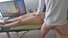 Korean guy gets hard during a massage & gets a happy ending