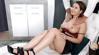 Alluring bombshell goes to a doctor for a squirting orgasm