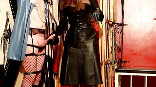 Eva Fetish, fashion tv Mistress in leather and red boots