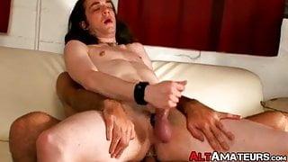Slim alt amateur sucks big cock before having his ass fucked
