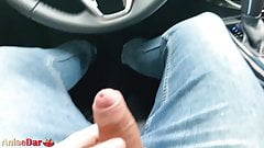 Hot Brunette Passionate Blowjob in Taxi before Work