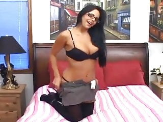 Opaque stockings fetish - Brunette in opaque thigh high stockings fucking