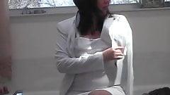 Maria putting on nude pantyhose