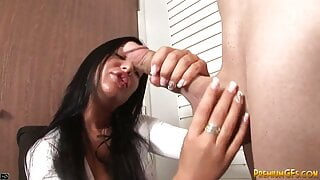 Cock teasing raven babe licked