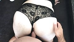 Sexy black panties fuck and creampie