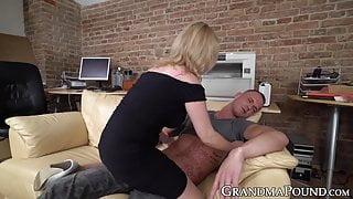 Stockinged granny works hard to make big young dick cum
