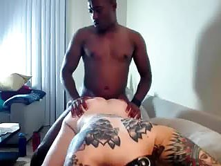 Interacial wife fuck - Interacial bbc fucks girl with tattoos on webcam
