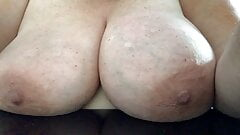 BiBW with big heavy natural saggy tits nipples spanking them