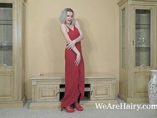 Red tube naked mary Anolia is dressed all in red and getting naked