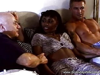 Janes first 3some fucking videos - Interracial 3some with first time swinger ebony milf