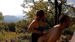 Pegging him and sex with her on the mountain.  Lick sperm