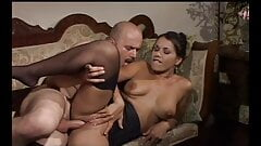JESSICA GAYLE in black stockings gets fucking hard on sofa