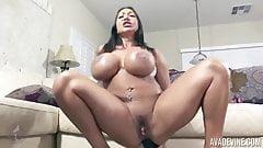 Ava Devine hardcore her vulva with a gigantic rubber cock