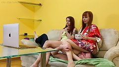 Two Mistresses Ignoring Face-Sitting and Stomach-Sitting