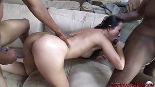 Nya Yu gets her Tiny Pussy Double Stuffed with Black Meat