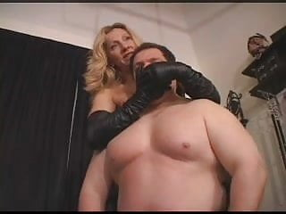 Leather glove handjob fetish Leather glove smother