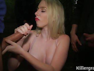No cum dogging Blonde dogging cumslut gets covered in cum