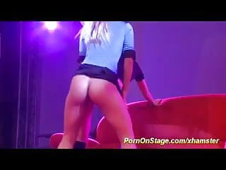 Amateur threesome porn - Threesome porn orgy on public stage