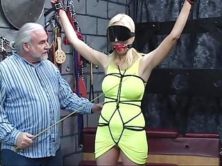 Rough submisive sex Submisive blonde girl slave get boundage and punishment on strange place