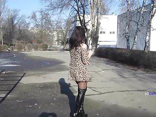 Short skirt boots fuck Russian milf dance in overknee boots and short skirt