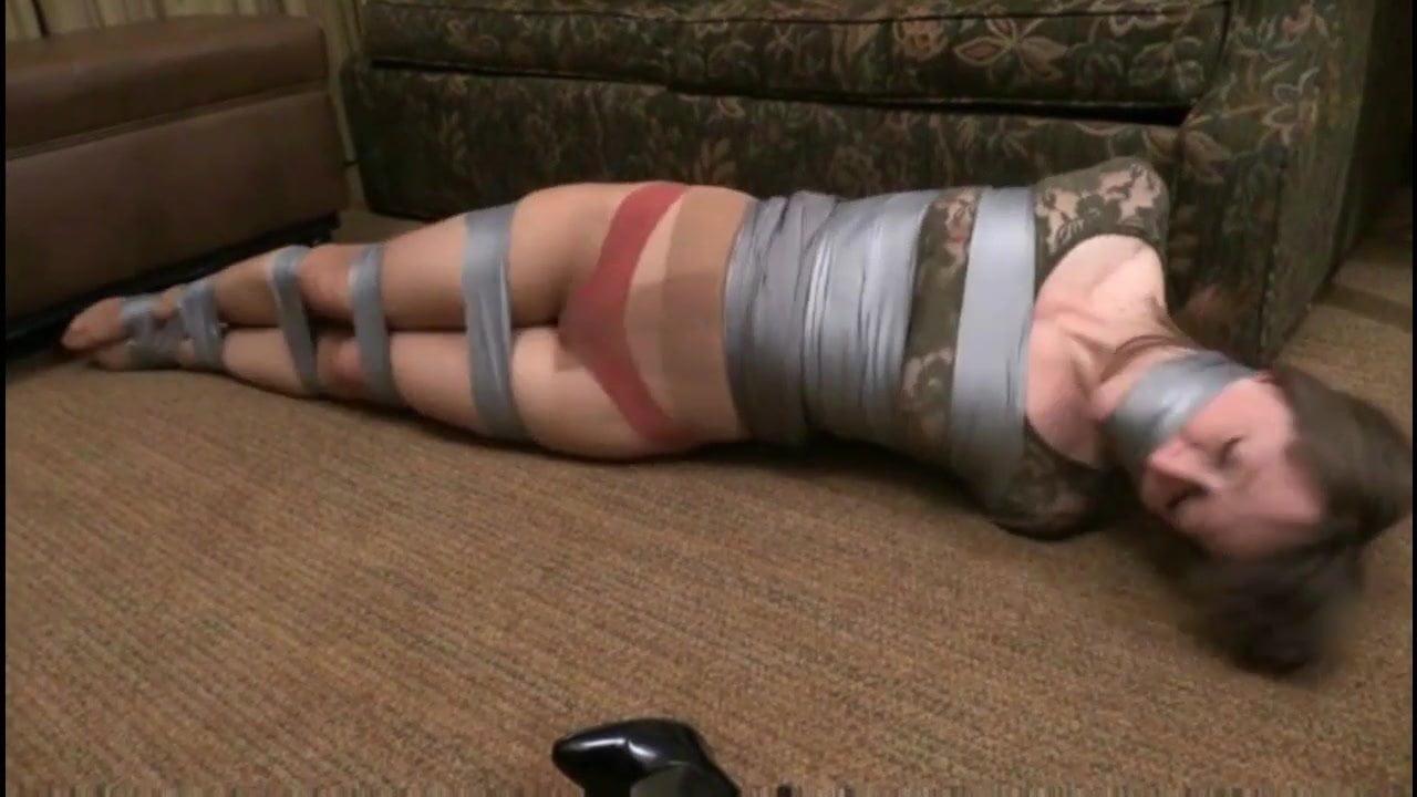 Lady renee plastic wrap bondage