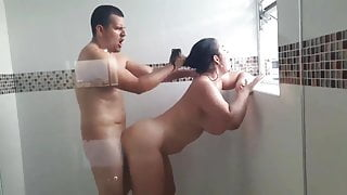 Beautiful sexy milf gets fucked in the shower by neighbor