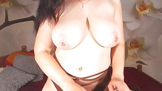 Cute brunette with big natural boobs but big fake eyebrows