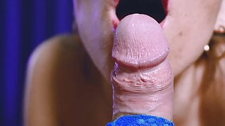 Gentle tongue edging and teasing blowjob