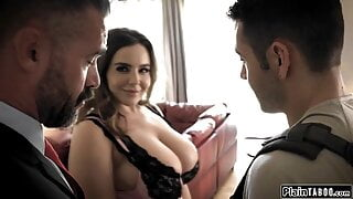 Husband watches his student get sucked by his big tits wife