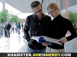 Study b39 breast - She is nerdy - studying and fucking with nerdy teeny