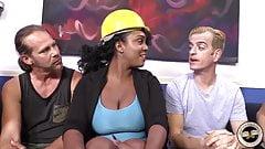 Black girl Layton Benton suck and fuck white demolition crew