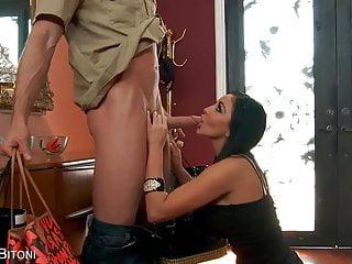 Busty hot video woman Busty hot brunette sucks cock sensually