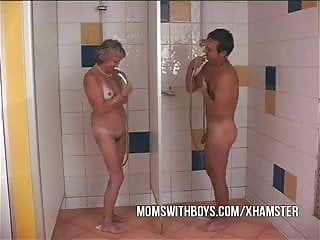 Old slut and young guys - Old slut and young stud in shower action