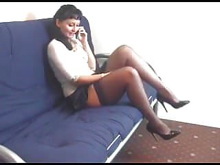 Vintage car phone accessories - Kirsty blue on the phone playing through her panties