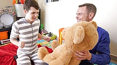 Twink Stepson And Stepdad Family Threesome With Stuffed Bear