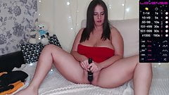 Chubby brunette shows what is between her legs