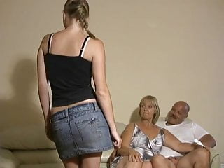 Nude mother with daughter Mother and daughter jerking two guys off