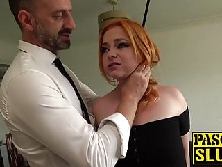 Massive hard straight cocks photo - Foxy redhead sub gagged with a massive hard cock and pounded